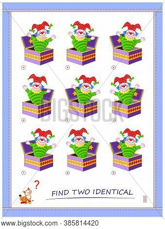 Logic Puzzle Game For Children And Adults. Find Two Identical Toy Clowns. Printable Page For Kids Br