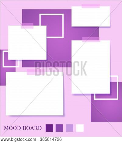 Square Shape Violet Shades Color Mood Board Template.decorative Office Memos Pad, Pins, Sticky Notes