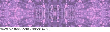 Tie And Dye Fabric. Gray Seamless Ornament. Violet Tie Dye Color. Paper Style Spot. Pink Watercolor