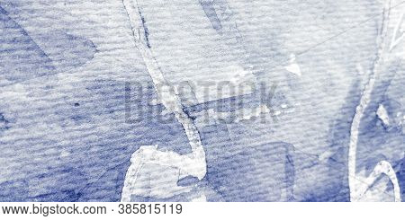 Ink Background Design. Colorless Watercolor Hand Drawn. Blue Modern Ink Artwork. Colorless Grange Ba