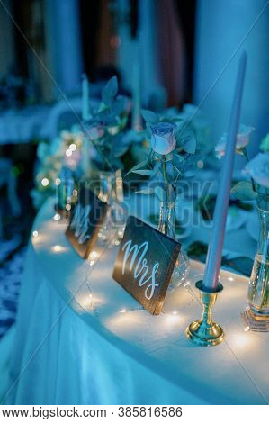 Wedding Table Decoration With Flowers.decoration Of The Banquet Hall On The Wedding Day.wedding Tabl