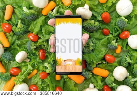 Online Order, Home Delivery Of Food, Groceries From Grocery Store Through Mobile Application On Smar
