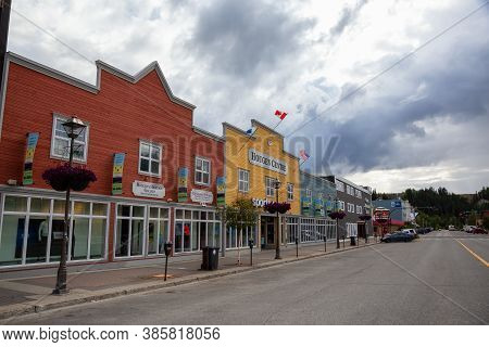 Whitehorse, Yukon, Canada - August 23, 2020: Colorful Building Storefronts In Downtown City During A