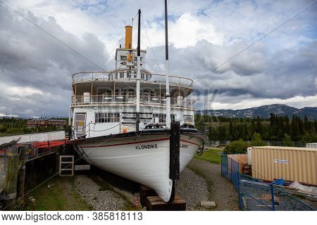 Whitehorse, Yukon, Canada - August 23, 2020: Historic Boat Memorial, Klondike, In The Public City Pa