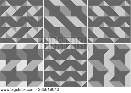 Triangles, Checks, Squares, Rhombuses, Diamonds, Pickets, Stars, Figures Seamless Patterns Collectio