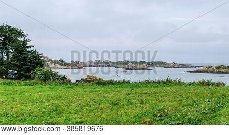 Ile De Brehat, France - August 27, 2019: Coastal Landscape At Picturesque Ile De Brehat Island In Co