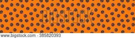 Halloween Pattern . Happy Halloween Background. Concept Of Halloween Pattern, Pumpkins On Orange Bac