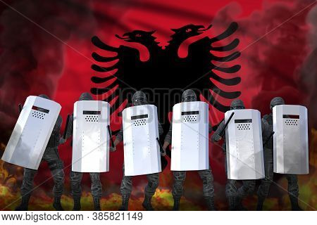 Albania Police Guards In Heavy Smoke And Fire Protecting State Against Revolt - Protest Stopping Con