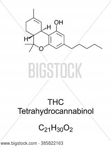 Thc, Tetrahydrocannabinol, Chemical Structure. Dronabinol, Isomer Of Thc And Principal And Most Acti