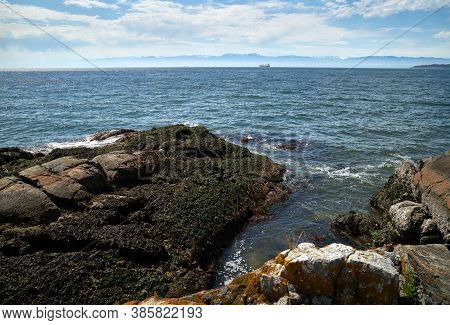 Strait Of Juan De Fuca. Looking Across The Strait Of Juan De Fuca At The Olympic Peninsula From Vanc
