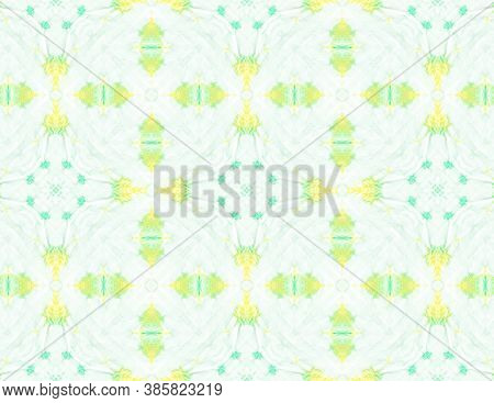 Seamless Watercolor Tile Pattern. Abstract Vintage Tile. Tribal Artistic Painted Decor Design. Green