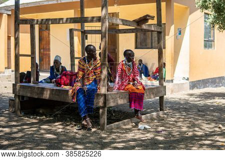 Engare Sero. Tanzania - January 2020: Market Day In Indigenous Maasai In Traditional Village. Maasai