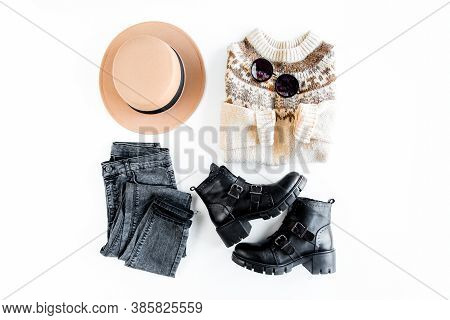Women Fashion Clothes And Accessories. Feminine Youth Collage Top View. Flat Lay Female Style Look W