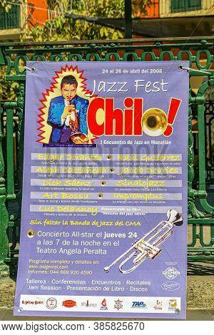 Mazatlan, Mexico - April 23, 2008: Purple Banner For Jazz Festival Chilo At Teatro Angela Peralta, L