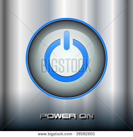 Power button on metallic background, vector.