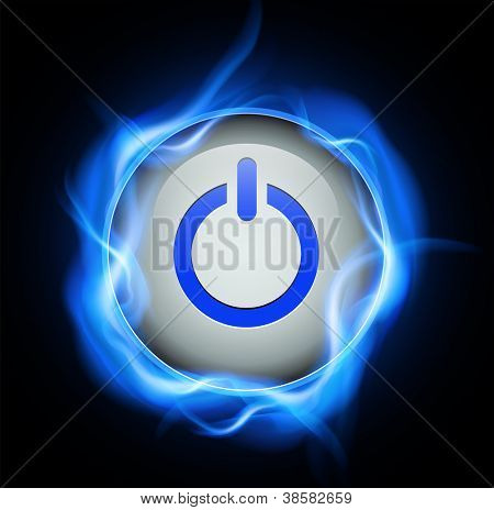 Power button and high voltage energy, vector design.