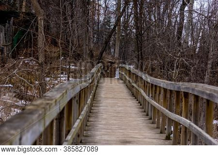 Boardwalk In Rattray Marsh In The Winter
