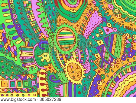 Colorful Green Trippy Psychedelic Ornament. Background With Line Art Flower Elements. Vivid Shamanic