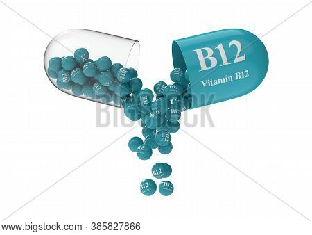 Open Capsule With B12 From Which The Vitamin Composition Is Poured. Medical 3d Rendering Illustratio