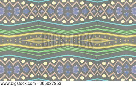 Seamless Tribal Ornament. Gray Mexican Ethnic Pattern. Brush Paint Batik Motif. Geometric Traditiona