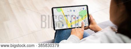 Location Map On Tablet Computer. Location Navigator