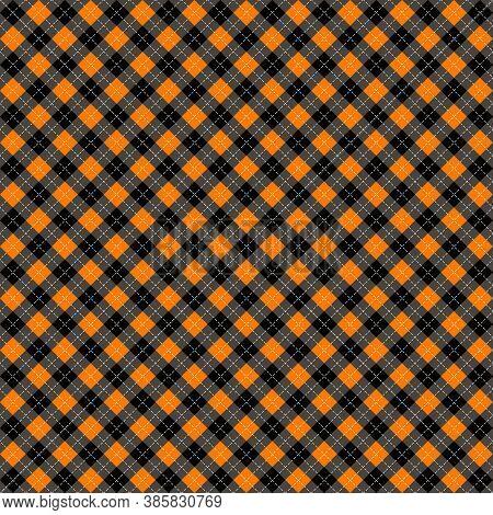Halloween Argyle Plaid. Scottish Pattern In Orange, Black And Gray Rhombuses. Scottish Cage. Traditi