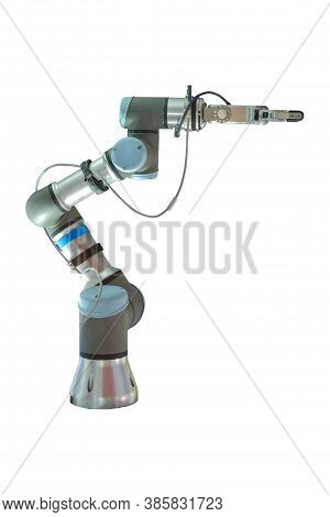 Industrial Robotic That Installed Gipping Arms For Grip And Hold Workpiece In Working On Smart Manuf