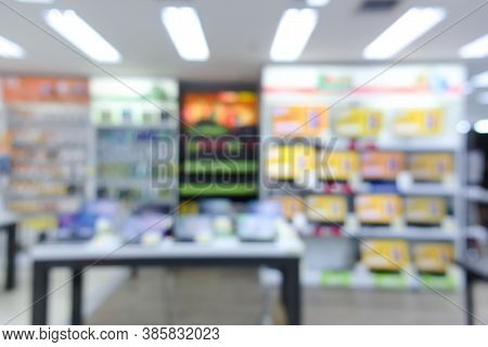 Blurred Image Background Of Interior Shop Store With Computer Accessory Device Products For Sale To