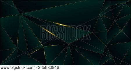 Emerald Luxury Gold Background. 3d Abstract Polygonal Sparkling Cover. New Year Christmas Celebratio