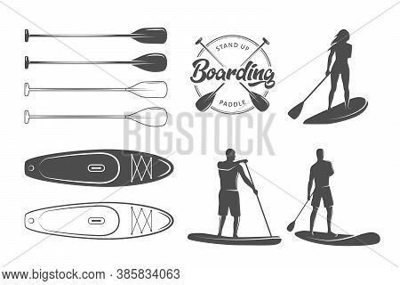 Sup Boarding Design Elements. Stand Up Paddling Stickers And Badges. Set Of Vector Emblems With Sup