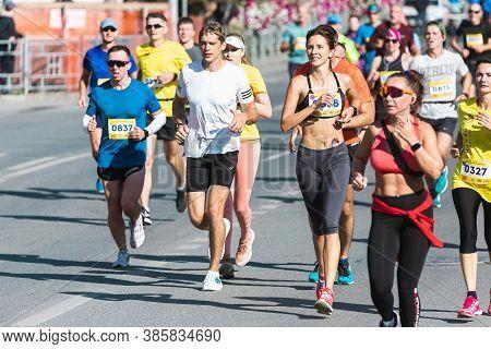 Novosibirsk, Russia - September 12, 2020: Raevich Half Marathon. Running The Crowd In The Marathon.