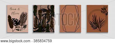 Abstract Trendy Vector Flyers Set. Minimal Olive Leaves Invitation Layout. Geometric Border Pattern.
