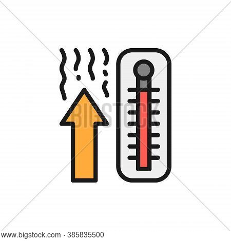 Thermometer, Temperature Rise Flat Color Line Icon.