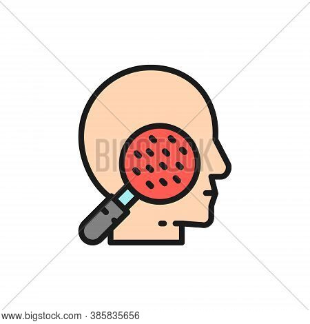 Face Under Magnifying Glass, Skin Allergy, Rashes, Dermatitis Flat Color Line Icon.