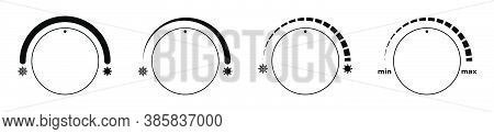 Climate Control Regulator Icons With Sign Of Cold, Snowflakes And Heat, Sun. User Interface. Electro