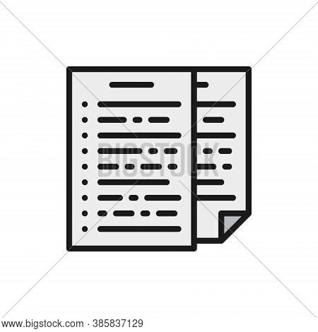 Pile Of Documents, Report, Declaration Flat Color Line Icon.