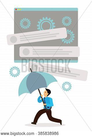 Businessman Holding An Open Umbrella Which Protects Him From A Collapse Webpage. Concept Of Business