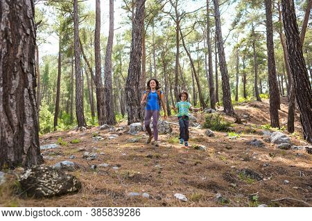 A Woman Runs With A Child On A Forest Road, The Boy Runs Away From Mom, A Woman Spends Time With Her