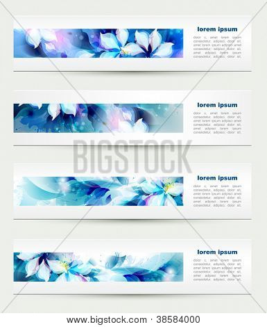 Set of four headers. Abstract blue artistic Backgrounds
