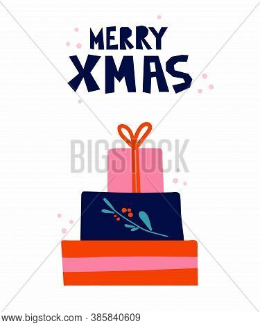 Merry Xmas Postcard. New Year Card With Christmas Gift Boxes And Lettering, Winter Festive Gift Card
