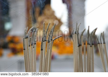 Incense Sticks Are Lighten And Incense Smoke For Worship Ganesha, Out Focus. The Lord Of Success, Th