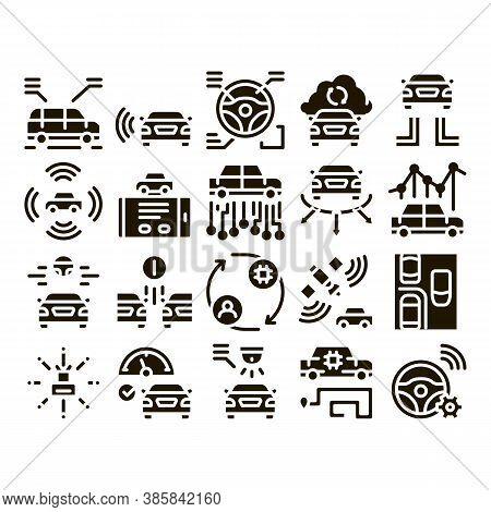 Smart Car Technology Glyph Set Vector. Smart Car Autopilot And Help Parking, Satellite Connection An