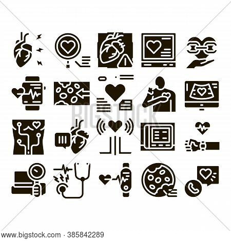 Hypertension Disease Glyph Set Vector. Hypertension Ill And Treatment, Heart Research And Examinatio