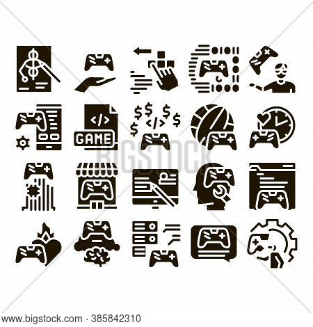 Video Game Development Glyph Set Vector. Game Development, Coding And Design, Developing Phone App A