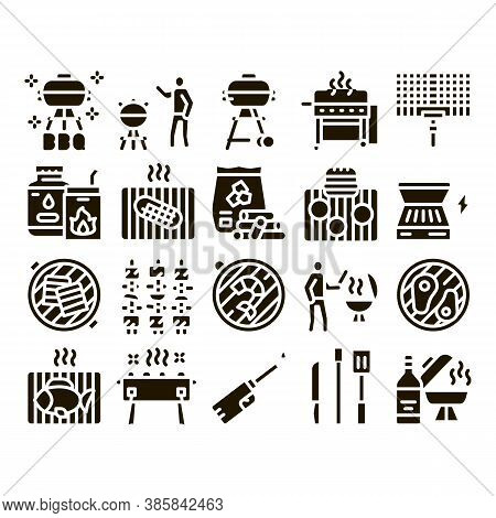 Bbq Barbecue Cooking Glyph Set Vector. Bbq Fried Meat And Shrimp, Fish And Bacon, Utensil And Gas Li