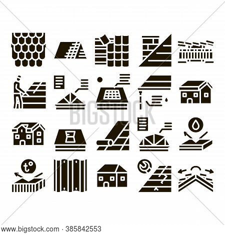 Roof Housetop Material Glyph Set Vector. House Roof Waterproof And Temperature Heat Resistant Constr