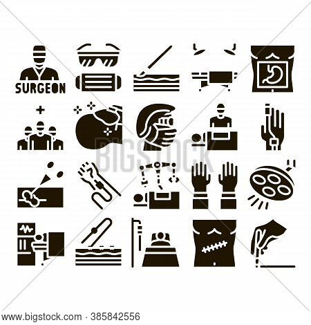 Surgeon Medical Doctor Glyph Set Vector. Surgeon Facial Mask And Glasses, Scalpel And Forceps, Surgi