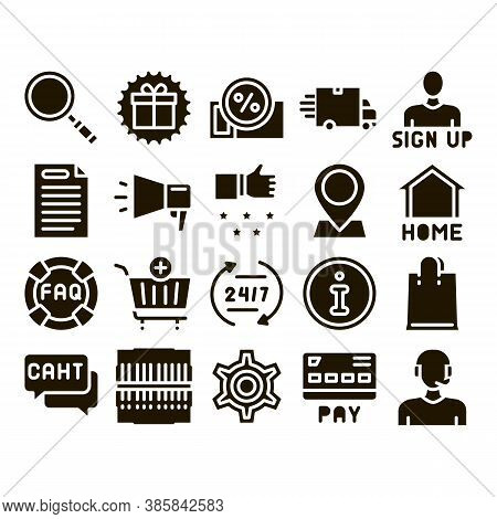 Webshop Internet Store Glyph Set Vector. Webshop Online Shop Coupon And Buy, Chat And Faq, Informati