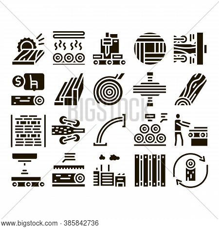 Wood Production Plant Glyph Set Vector. Wood Sawmill And Forestry Equipment, Timber And Lumber, Fact