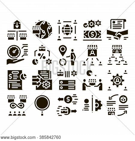 Outsource Management Glyph Set Vector. Outsource Team And World Business Process, Agreement Document